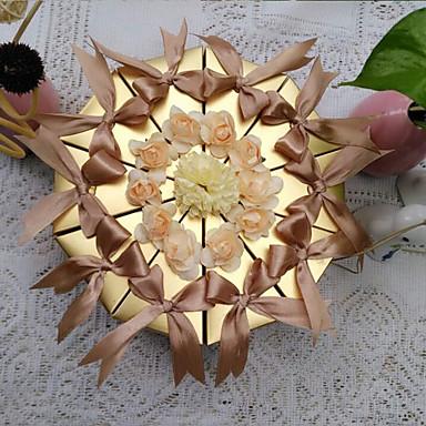 Piramidă Hârtie perlă Favor Holder cu Panglici Flori Cutii de Savoare