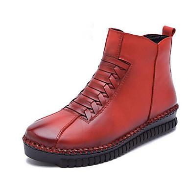 Feminino Sapatos Couro Outono Inverno Botas Rasteiro Ziper Combinação Para Casual Preto Amarelo Vermelho