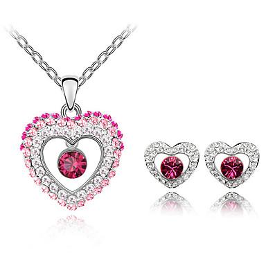Conjunto de Jóias Cristal Moda Branco Roxo Rosa Azul Colares Brincos Para Diário 1 Conjunto Presentes de casamento