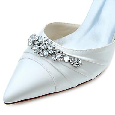 Evénement Automne Cristal Satin Sandales Aiguille Soirée Habillé pour 05340438 Talon Femme Elastique Bout Chaussures amp; Mariage pointu Printemps Sawx4v