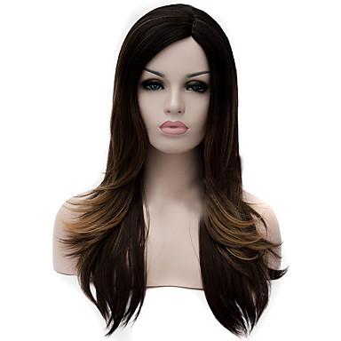 女性 人工毛ウィッグ キャップレス ディープウェーブ ブラック/ダークオーバーン コスプレ用ウィッグ コスチュームウィッグ