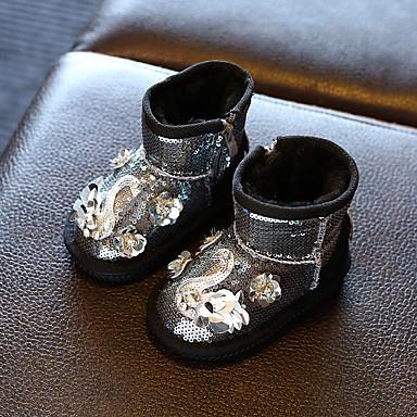 女の子 赤ちゃん ブーツ コンフォートシューズ PUレザー カジュアル コンフォートシューズ ブラック シルバー レッド 1インチ以下
