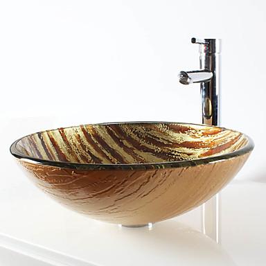 コンテンポラリー 円形 シンク材質 あります 強化ガラス 洗面ボウル 水栓 取付リング 排水ドレイン