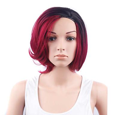 Pelucas sintéticas Ondulado Corte Bob / Corte a capas / Con flequillo Pelo sintético Pelo Ombre / Raíces oscuras / Parte lateral Rojo Peluca Mujer Corta Sin Tapa