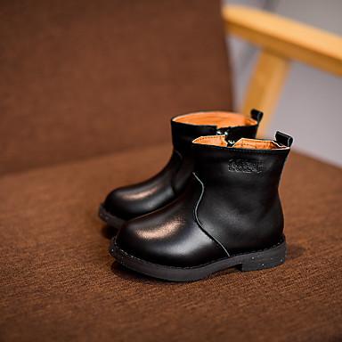 男の子 靴 レザー 冬 コンバットブーツ ブーツ ウォーキング 用途 カジュアル ブラック Brown