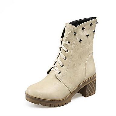 Dame-PU-Tykk hæl-Komfort-Støvler-Kontor og arbeid Formell Fritid-Svart Brun Beige