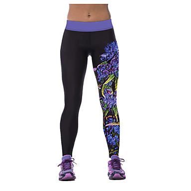 Mujer Camiseta interior / Pantalones ajustados de running / Leggings de gimnasio - Negro Deportes Moda, Estrellas, Digital Pantalones / Sobrepantalón Yoga, Fitness, Gimnasia Ropa de Deporte Secado