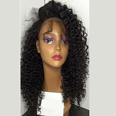 Ekte hår Blonde Forside Parykk Kinky Curly tetthet 100 % håndknyttet Afroamerikansk parykk Naturlig hårlinje Kort Medium Lang Dame