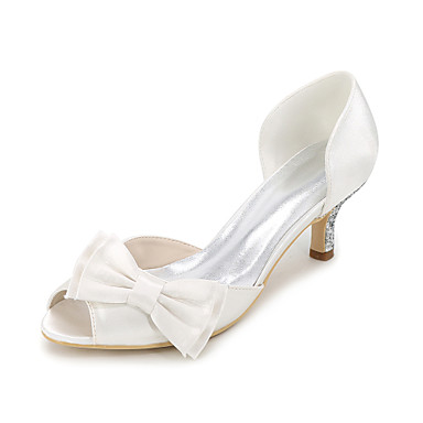 Women s Satin Spring   Summer Basic Pump Wedding Shoes Stiletto Heel Peep  Toe Bowknot   Sparkling Glitter Blue   Champagne   Ivory   Party   Evening  6480281 ... 8f142827e772
