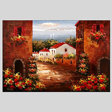 手描きの 風景 / 抽象的な風景画 油彩画+プリント,クラシック / 地中海風 1枚 キャンバス ハング塗装油絵 For ホームデコレーション