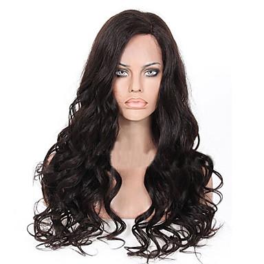 Naisten Aitohiusperuukit verkolla Aidot hiukset Lace Front Liimaton puoliverkko 150% Tiheys Runsaat laineet Peruukki Musta Musta Lyhyt