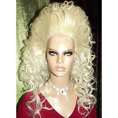Synteettiset peruukit Suora Kinky Straight Luonnollinen hiusviiva 100% kanekalon-hiuksia Naisten Lace Front Drag queen -peruukki