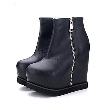 女性用 靴 レザーレット 秋 / 冬 コンフォートシューズ ブーツ プラットフォーム / ウエッジヒール / クリーパーズ ホワイト / ブラック / 結婚式 / パーティー