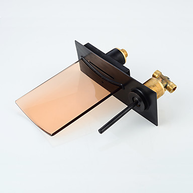 Moderna Montagem de Parede Cascata LED Válvula Cerâmica Monocomando Dois Buracos Bronze Polido a Óleo, Torneira pia do banheiro