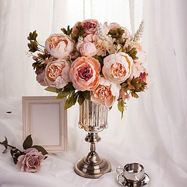 1 haara Silkki Styroksivaahto Pioonit Pöytäkukka Keinotekoinen Flowers