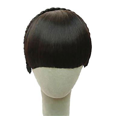 Dunkelbraun Mittelbraun Hellbraun Dunkelbraun Gerade Stirn-Pony Franse 0.2kg Synthetische Haare Haarstück Haar-Verlängerung Gerade