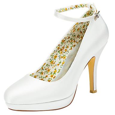 Mujer Zapatos Satén Elástico Primavera / Otoño Tacones Tacón Stiletto / Plataforma Dedo redondo Hebilla Azul Real / Champaña / Marfil