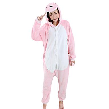 Adulto Pijamas Kigurumi Dragón Dinosaurio Pijamas de una pieza Mink Velvet Rosa Cosplay por Hombre y mujer Ropa de Noche de los Animales Dibujos animados Víspera de Todos los Santos Festival