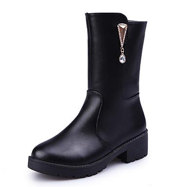 Dame Sko PU Vinter Komfort Trendy støvler Støvler Tykk hæl Spisstå Gummi Glidelås til Avslappet Formell Svart
