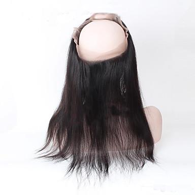 Intialainen Suora / 360 Frontal Hiukset kutoo 3 pakkausta sulkemalla Hiukset kutoo Musta Hiukset Extensions