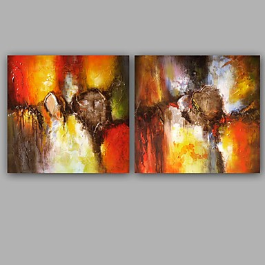 手描きの 抽象画 クラシック 近代の キャンバス ハング塗装油絵 ホームデコレーション 2枚