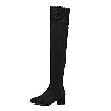 女性用 靴 スエード 冬 コンバットブーツ ブーツ チャンキーヒール ポインテッドトゥ のために カジュアル ブラック