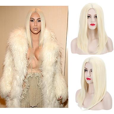 人工毛ウィッグ ストレート 合成 ミドル部 かつら 女性用 キャップレス