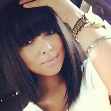 estilo bob linda de 12 pulgadas de color negro oscuro # 1 flequillo recto naturales pelucas de cabello humano sin tapa