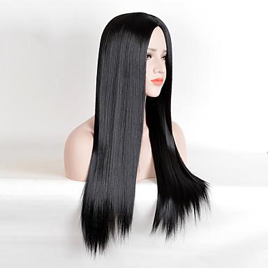 Syntetisk hår Parykker Rett Lokkløs Celebrity Wig Naturlig parykk Lang Svart