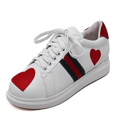 女性用 靴 PUレザー 春 コンフォートシューズ スニーカー 刺繍 のために カジュアル ホワイト