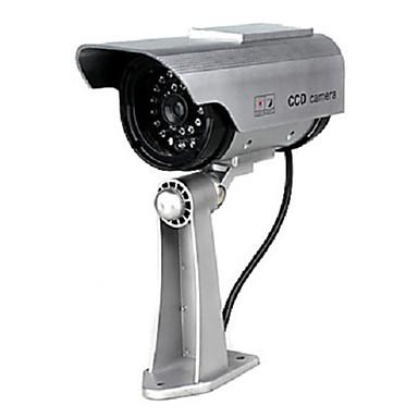 zonne-energie en batterij dual power gesimuleerd indoor / outdoor bewakingscamera met knipperende rode led