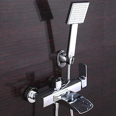 Ammehana - Nykyaikainen / Art Deco / Retro / Moderni Kromi Amme ja suihku Keraaminen venttiili / Messinki / Kaksi kahvaa kaksi reikää