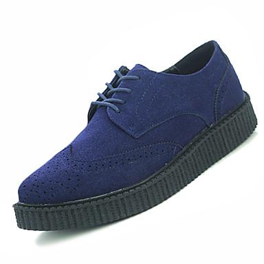 Herre sko PU Høst Vinter Komfort Oxfords Snøring til Avslappet Svart Grå Navyblå Mørkebrun