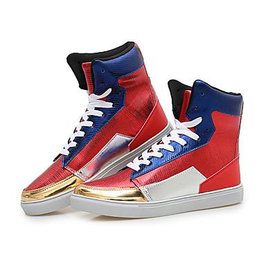 Herre-PU-Flat hæl-Komfort-Treningssko-Fritid Sport-Rød Sølv
