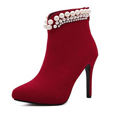 レディース 靴 フリース 冬 ブーティー ブーツ スティレットヒール ポインテッドトゥ イミテーションパール 用途 ドレスシューズ ブラック レッド