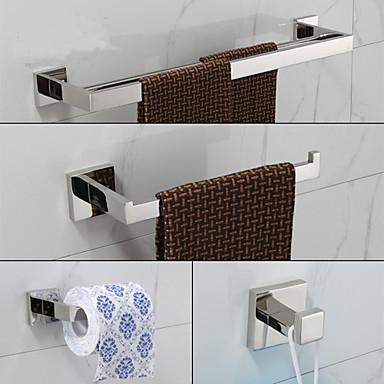 Tilbehørssett til badeværelset Moderne Rustfritt Stål 4stk - Hotell bad tårnet bar Robe Hook Toalettrullholder