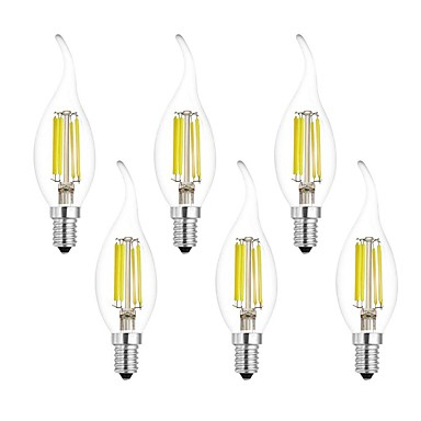 6pcs 7W 750lm E14 LED-glødepærer CA35 6 LED perler COB Varm hvit Kjølig hvit 220-240V