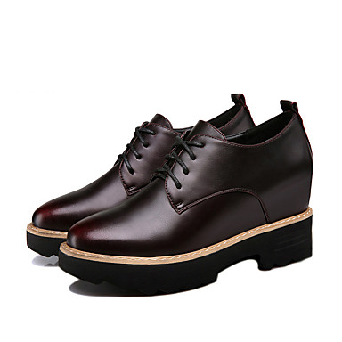 Naisten Kengät PU Syksy Oxford-kengät Kiilakantapää varten Kausaliteetti Musta Burgundi