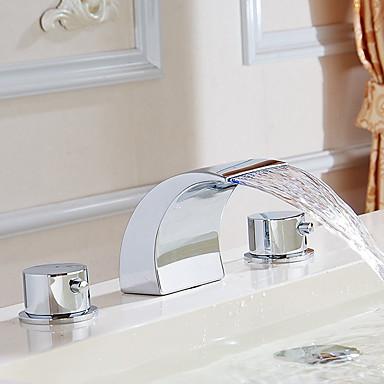Nykyaikainen Kolmiosainen Vesiputous Keraaminen venttiili Kaksi kahvaa kolme reikää Kromi, Kylpyhuone Sink hana