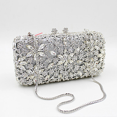 cheap Clutches & Evening Bags-Women's Crystal / Rhinestone Evening Bag Rhinestone Crystal Evening Bags Metal Floral Print Gold / Black / Silver / Wedding Bags / Wedding Bags