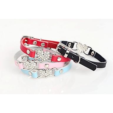 ネコ 犬 カラー 調整可能 / 引き込み式 ハート ラインストーン モザイク PUレザー ブラック ローズ レッド ブルー ピンク
