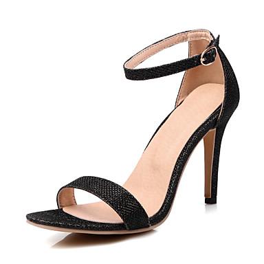 Naiset Kengät Glitter Kevät Kesä Syksy Sandaalit Stilettikorko Avokärkiset korkokengät Soljilla varten Kausaliteetti Juhlat Kulta Musta