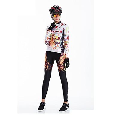 Malciklo Mujer Manga Larga Maillot de Ciclismo con Mallas - Negro Británico Bicicleta Medias / Mallas Largas, Almohadilla 3D, Secado rápido, Transpirable Coolmax®, Licra / Alta elasticidad
