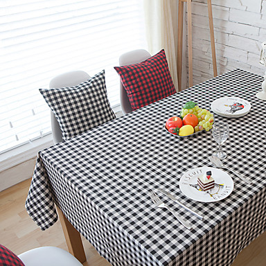 Neliö Gingham Table Cloths , Cotton Blend materiaali Hotel ruokapöytä Taulukko Dceoration