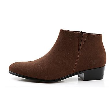 Naisten Kengät PU Kevät / Syksy Comfort Bootsit Tasapohja Pyöreä kärkinen varten Musta / Tumman ruskea