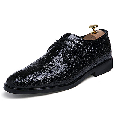 Miehet kengät PU Kevät Syksy Comfort Oxford-kengät Solmittavat Käyttötarkoitus Kausaliteetti Musta