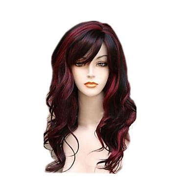 Pelucas sintéticas Ondulado Con flequillo Pelo sintético Pelo reflectante / balayage / Parte lateral Rojo Peluca Mujer Larga Sin Tapa