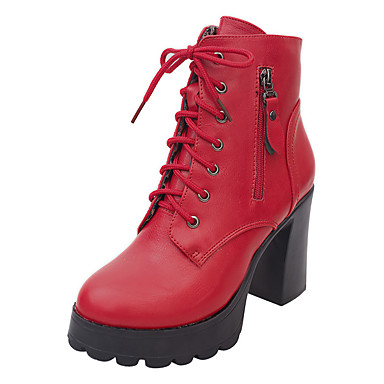 Žene Cipele Umjetna koža Zima Udobne cipele / Modne čizme Čizme Kockasta potpetica Okrugli Toe Patent-zatvarač / Vezanje Crn / Sive boje