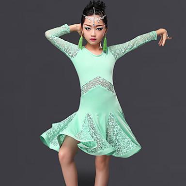 ラテンダンス ワンピース 子供用 演出 プロミックス レース フリル 1個 長袖 ドレス