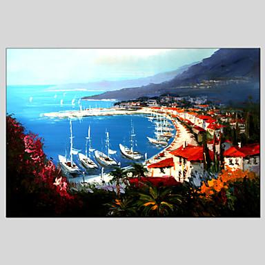 手描きの 風景 / 抽象的な風景画 油彩画+プリント,地中海風 / クラシック 1枚 キャンバス ハング塗装油絵 For ホームデコレーション